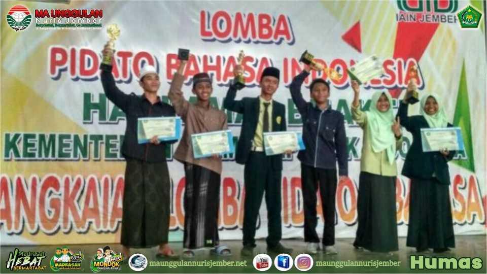 MA Unggulan Nuris Borong Juara Pidato Bahasa Arab di IAIN Jember